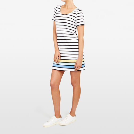 COLOUR BLOCK STRIPE DRESS  SUMMER WT/BLACK/MULT  hi-res
