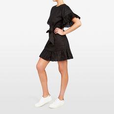 LINEN RUFFLE DRESS  BLACK  hi-res