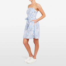 STRIPE FLORAL DRESS  SUMMER WH/CORNFLOWER  hi-res