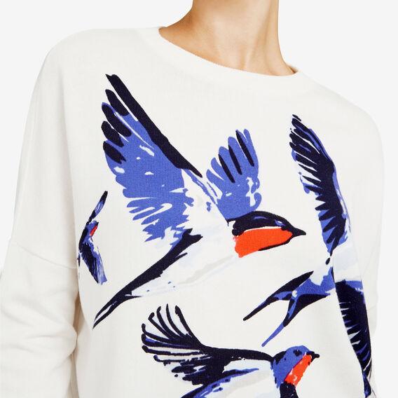 BIRD PRINTED KNIT  CREAM/MULTI  hi-res