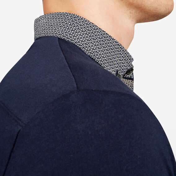 GEO PRINT CONTRAST COLLAR POLO  MARINE BLUE  hi-res