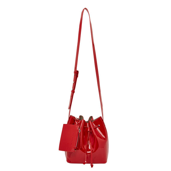 MINI PATENT BUCKET BAG  RED  hi-res
