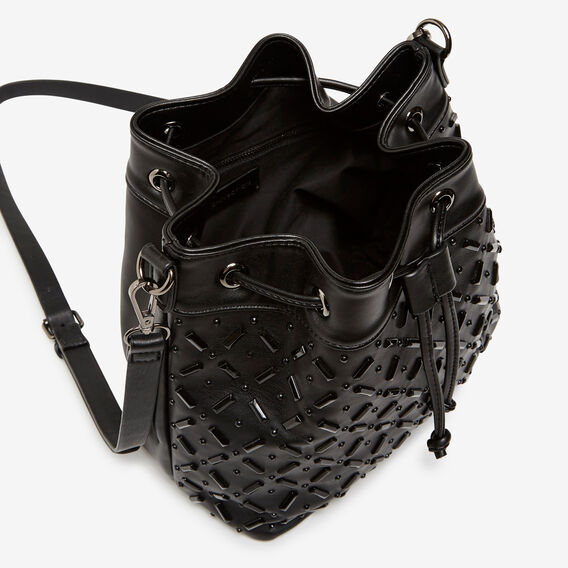 JEWELLED BUCKET BAG  BLACK  hi-res