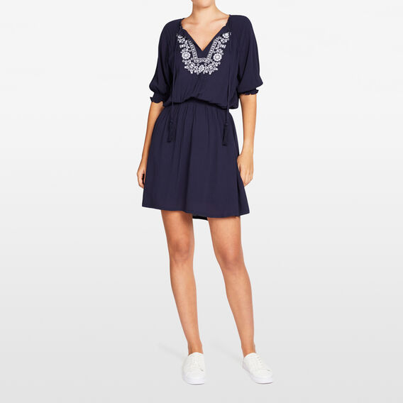EMBROIDERED BABYDOLL DRESS  NOCTURNAL  hi-res