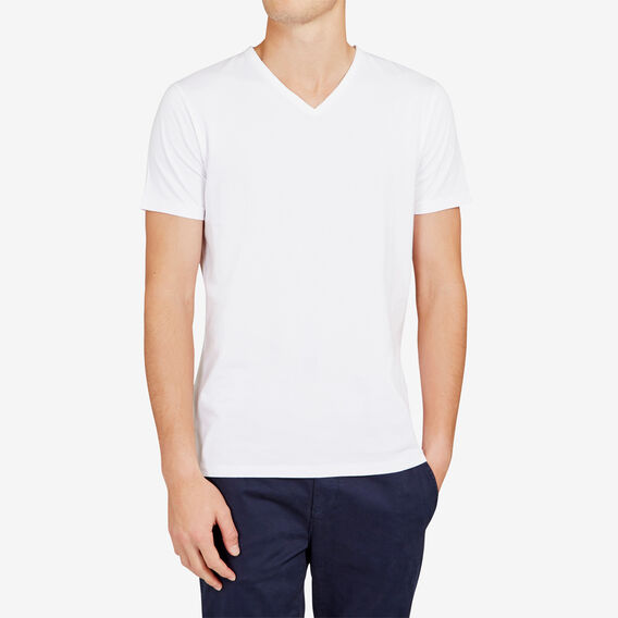 CLASSIC V NECK T-SHIRT  WHITE  hi-res