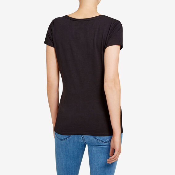 HAYLEY STRETCH V NECK TEE  BLACK  hi-res
