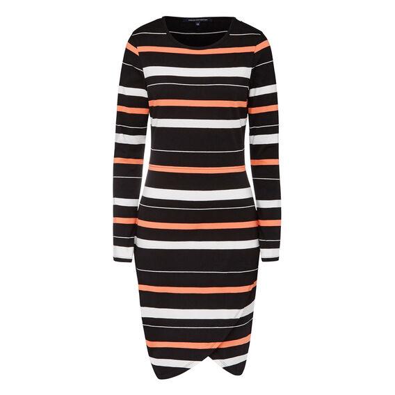 SUZIE STRIPE BODY CON DRESS  BLACK/WHITE/CORAL  hi-res