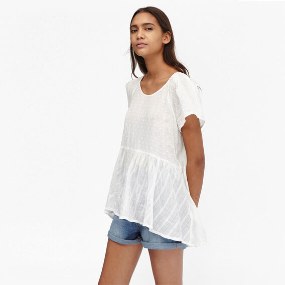 DON'T BE DOBBY PEPLUM TOP  SUMMER WHITE  hi-res