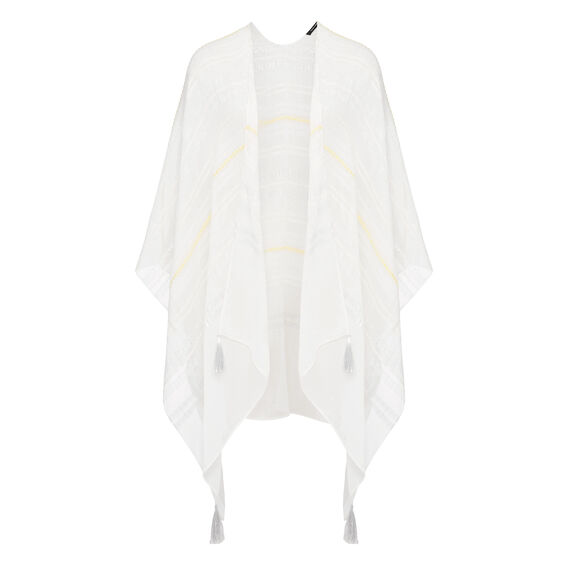 LIGHTWEIGHT STRIPE PONCHO  WHITE/SILVER/YELLOW  hi-res