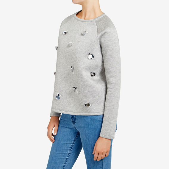 BEADED FLORAL SWEAT  GREY MARLE  hi-res