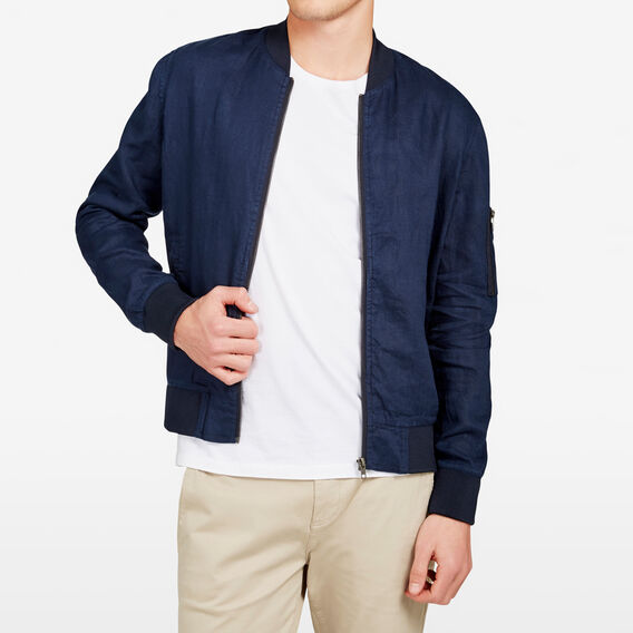 VACATION LINEN BOMBER  MARINE BLUE  hi-res