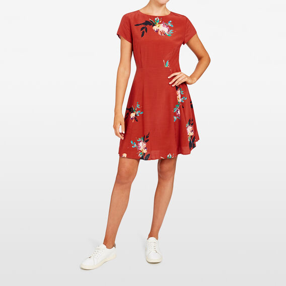 FLORAL TEA DRESS  RUST MULTI  hi-res