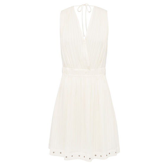 CROSS OVER EYELET DRESS  CREAM  hi-res