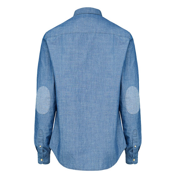 SLUB COTTON REGULAR FIT SHIRT  MID BLUE  hi-res