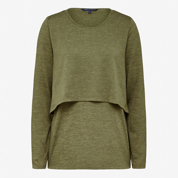DOLLY DOUBLE LAYERED L/S TEE  KHAKI MARLE  hi-res