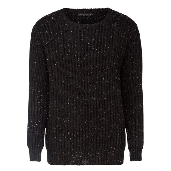 SPECKLE CREW NECK KNIT  BLACK  hi-res