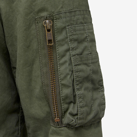 WASHED COTTON BOMBER  OLIVE GREEN  hi-res