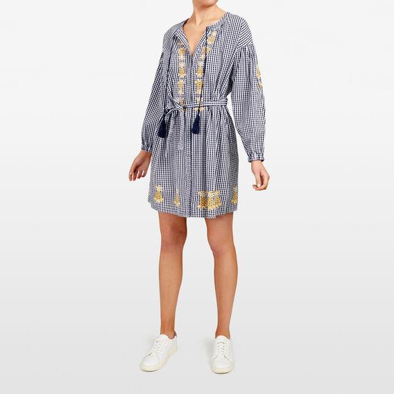 EMBROIDERED PINEAPPLE GINGHAM DRESS  SUM WHITE/NOCT/TUMER  hi-res
