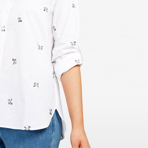 EMBROIDERED ZEBRA SHIRT  SUMMER WHITE/BLACK  hi-res