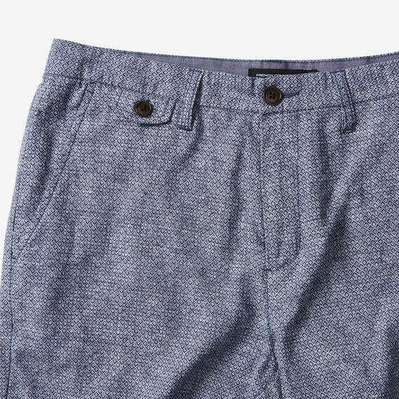LINEN BLEND PRINTED SHORT  MARINE BLUE  hi-res