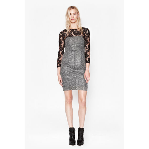 SPLICED LACE DRESS  TWEED/BLACK  hi-res
