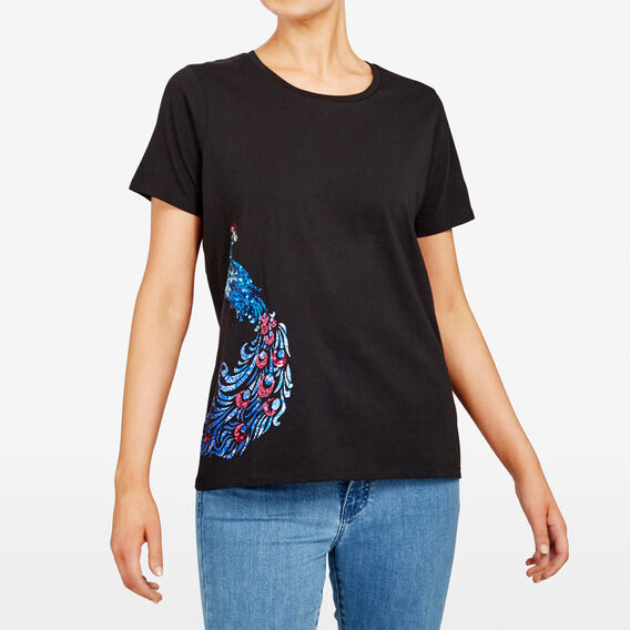PEACOCK EMBELLISHED PLACEMENT TEE  BLACK MULTI  hi-res