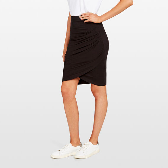 WINTER ROUCHED SKIRT  BLACK  hi-res