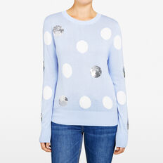 SEQUIN SPOT KNIT  PALE BLUE/WHITE/SILV  hi-res