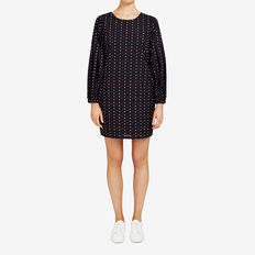 DOBBY SHIFT DRESS  BLACK/MULTI  hi-res