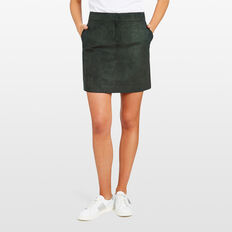 FAUX SUEDE MINI SKIRT  FOREST GREEN  hi-res