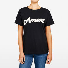 AMORE PEARL APPLIQUE TEE  BLACK/SUMMER WHITE  hi-res
