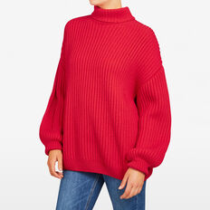 BILLOWING SLEEVE KNIT  RED  hi-res