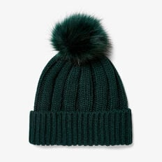 POM POM BEANIE  FOREST GREEN  hi-res