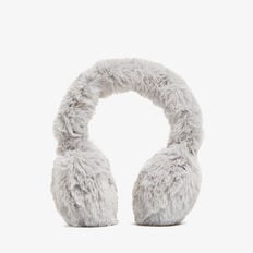 FLUFFY EAR MUFFS  GREY  hi-res