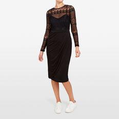 LACE DRAPE DRESS  BLACK  hi-res