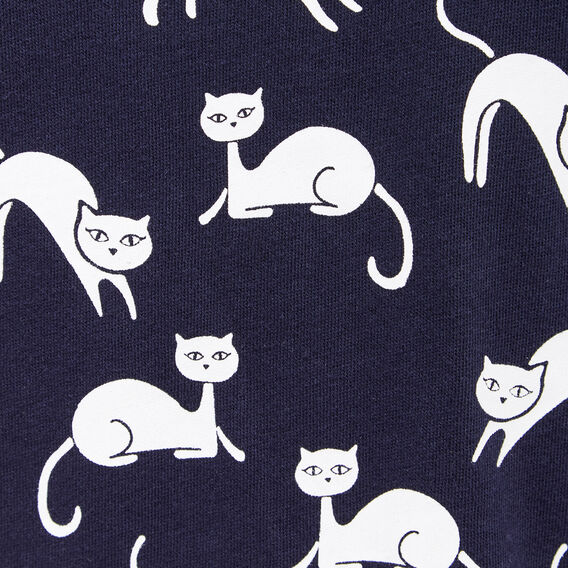 PLAYING CATS YARDAGE SWEAT  NOCTURNAL/WHITE  hi-res