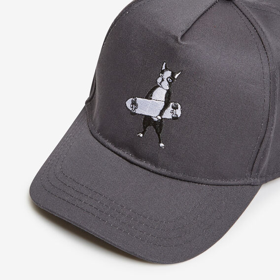 BOSTON TERRIER EMBROIDERED CAP  CHARCOAL  hi-res