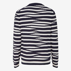 TIGER STRIPE CREW NECK KNIT  MARINE BLUE/FROST  hi-res