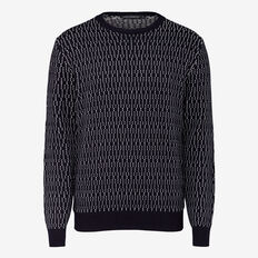 KILMER DOT CREW NECK KNIT  MARINE BLUE  hi-res