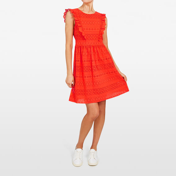 LACE FLUTTER SLEEVE DRESS  RED  hi-res