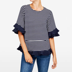 RUFFLE WOVEN TEE  NOCTURNAL/SUMMER WHI  hi-res