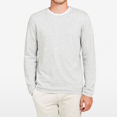 LIGHTWEIGHT BIRDSEYE CREW NECK KNIT  GREY MARLE  hi-res