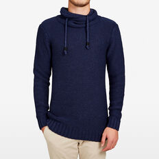 WRAP COLLAR KNIT  MARINE BLUE MARLE  hi-res
