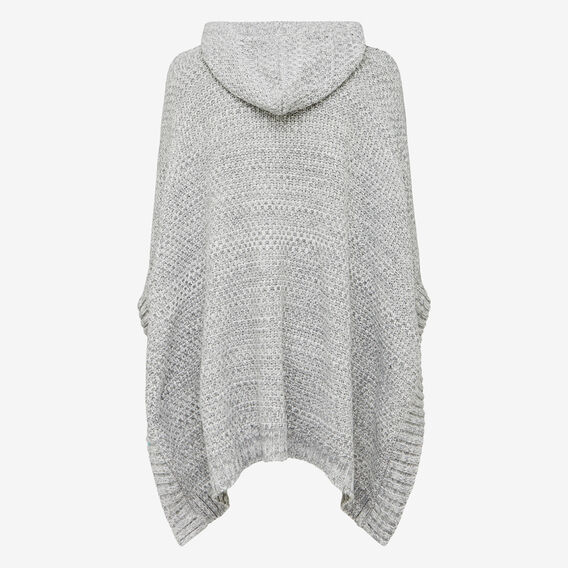 BASKET KNIT HOODED PONCHO  GREY MARLE  hi-res