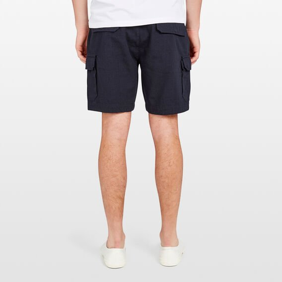 LINEN BLEND CARGO SHORT  MARINE BLUE  hi-res