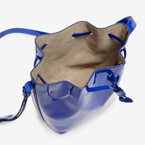 MINI PATENT BUCKET BAG  COBALT  hi-res