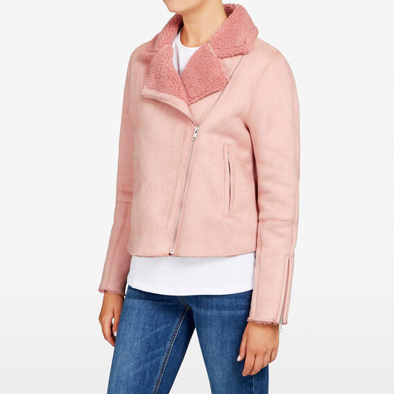 FAUX SUEDE SHEARLING JACKET  BLUSH  hi-res