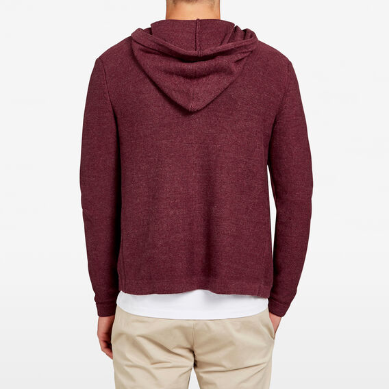 COUNTRY ZIP THRU HOODED KNIT  BURGUNDY MARL  hi-res