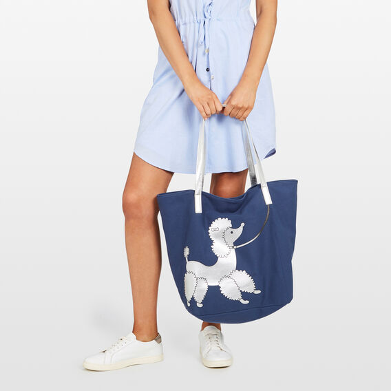 WALKING THE POODLE TOTE  NAVY/MULTI  hi-res