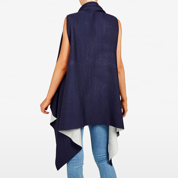 REVERSIBLE PONCHO  NAVY/GREY MARLE  hi-res